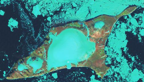 Bennet Island surrounded by pack ice. Photo NASA