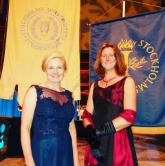 Professor Monika Winder (left) and professor Clare Bradshaw (right) at the inauguration for professors in Stockholm City Hall 2017.
